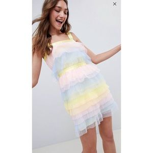 ASOS Design Tiered Mini Dress Pastel Colored Tulle